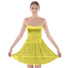 Periodic Table in Yellow Strapless Bra Top Dress