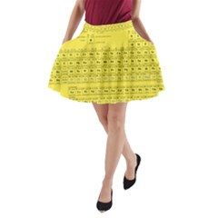 Periodic Table in Yellow A-Line Pocket Skirt