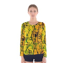 Gentle yellow abstract art Women s Long Sleeve Tee