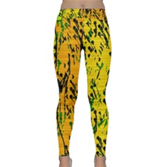 Gentle yellow abstract art Yoga Leggings