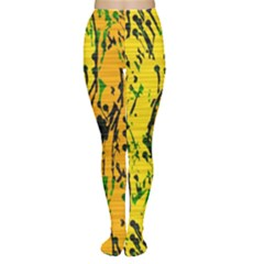 Gentle yellow abstract art Women s Tights