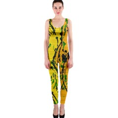 Gentle yellow abstract art OnePiece Catsuit