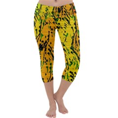 Gentle Yellow Abstract Art Capri Yoga Leggings