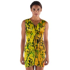 Gentle yellow abstract art Wrap Front Bodycon Dress