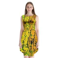 Gentle yellow abstract art Sleeveless Chiffon Dress