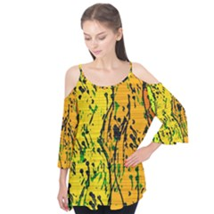 Gentle Yellow Abstract Art Flutter Tees