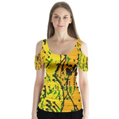 Gentle yellow abstract art Butterfly Sleeve Cutout Tee