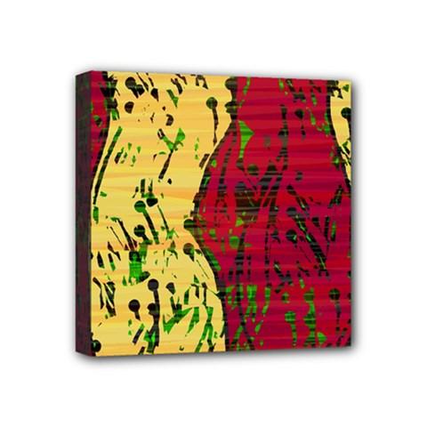 Maroon and ocher abstract art Mini Canvas 4  x 4