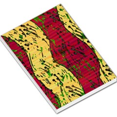 Maroon and ocher abstract art Large Memo Pads