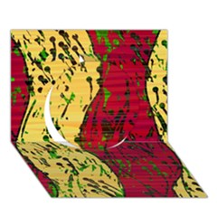 Maroon and ocher abstract art Circle 3D Greeting Card (7x5)