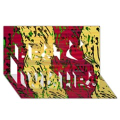 Maroon and ocher abstract art Best Wish 3D Greeting Card (8x4)