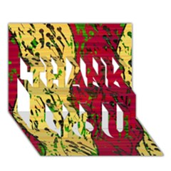 Maroon and ocher abstract art THANK YOU 3D Greeting Card (7x5)