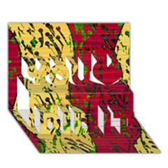 Maroon and ocher abstract art You Did It 3D Greeting Card (7x5)