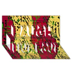 Maroon and ocher abstract art Laugh Live Love 3D Greeting Card (8x4)