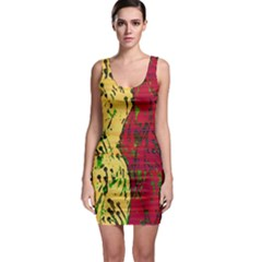Maroon and ocher abstract art Sleeveless Bodycon Dress