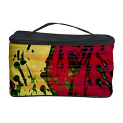 Maroon and ocher abstract art Cosmetic Storage Case