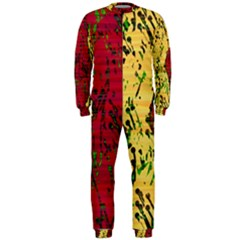 Maroon and ocher abstract art OnePiece Jumpsuit (Men)