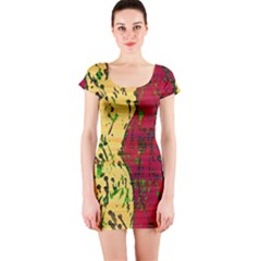 Maroon and ocher abstract art Short Sleeve Bodycon Dress