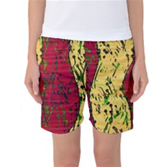 Maroon and ocher abstract art Women s Basketball Shorts