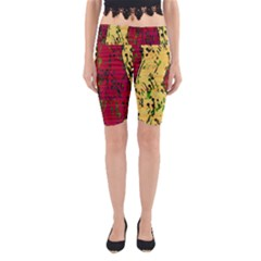Maroon And Ocher Abstract Art Yoga Cropped Leggings