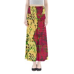 Maroon And Ocher Abstract Art Maxi Skirts