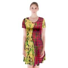 Maroon and ocher abstract art Short Sleeve V-neck Flare Dress