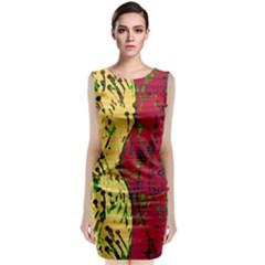 Maroon and ocher abstract art Classic Sleeveless Midi Dress