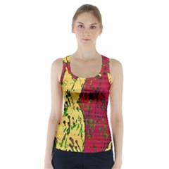 Maroon And Ocher Abstract Art Racer Back Sports Top