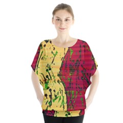 Maroon And Ocher Abstract Art Blouse