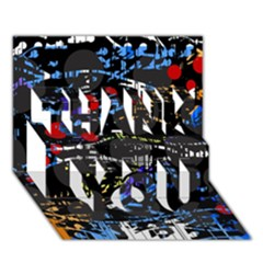 Blue confusion THANK YOU 3D Greeting Card (7x5)