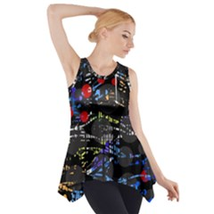 Blue Confusion Side Drop Tank Tunic