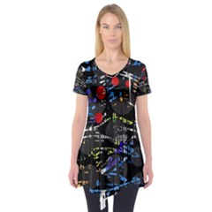 Blue confusion Short Sleeve Tunic