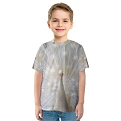 3d White Peacock Feather Kids  Sport Mesh Tee