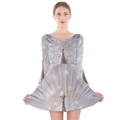 3d White Peacock Feather Long Sleeve Velvet Skater Dress