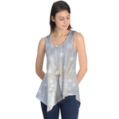 3d White Peacock Feather Sleeveless Tunic