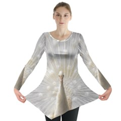 3d White Peacock Feather Long Sleeve Tunic