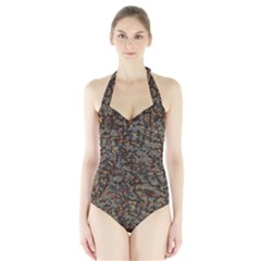 A Complex Maze Generated Halter Swimsuit