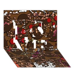 Brown confusion LOVE 3D Greeting Card (7x5)