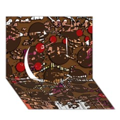 Brown confusion Circle 3D Greeting Card (7x5)