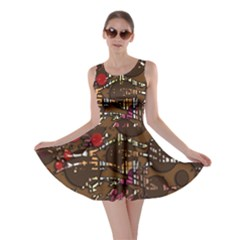 Brown confusion Skater Dress