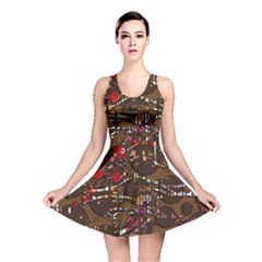 Brown confusion Reversible Skater Dress