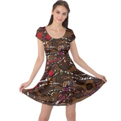 Brown confusion Cap Sleeve Dresses