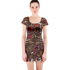 Brown confusion Short Sleeve Bodycon Dress