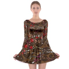 Brown confusion Long Sleeve Skater Dress
