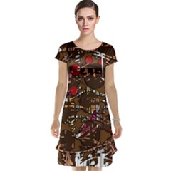 Brown confusion Cap Sleeve Nightdress
