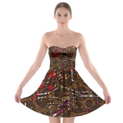 Brown confusion Strapless Bra Top Dress
