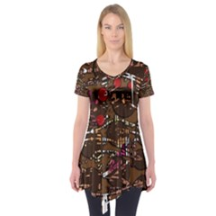 Brown confusion Short Sleeve Tunic