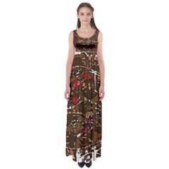 Brown confusion Empire Waist Maxi Dress