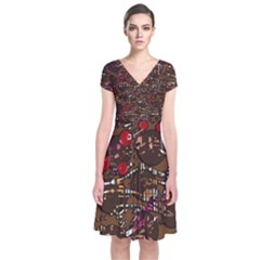 Brown confusion Short Sleeve Front Wrap Dress