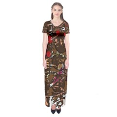 Brown Confusion Short Sleeve Maxi Dress